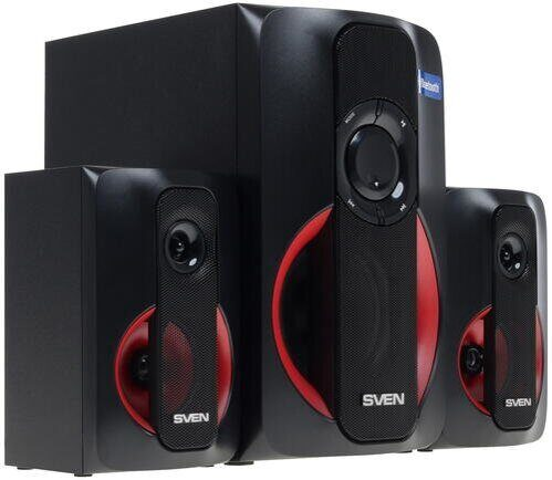Акустика мультимед. 2.1 SVEN MS-304 Black (2x10W +Subwoofer 20W, дерево, Bluetooth, SD,USB, FM, ПДУ)